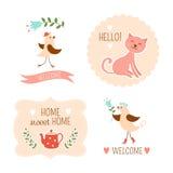 Elementi decorativi domestici benvenuti Immagini Stock