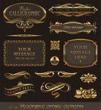 Elementi decorativi dorati di disegno Fotografia Stock Libera da Diritti