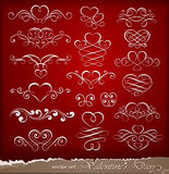 Elementi decorativi il giorno del biglietto di S. Valentino Fotografia Stock Libera da Diritti