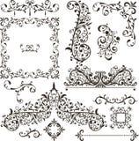 Elementi decorativi - retro stile d'annata Immagine Stock