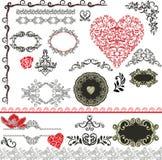 Elementi decorativi - stile felice dei biglietti di S. Valentino Fotografia Stock Libera da Diritti