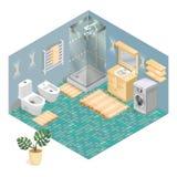 Elementi del bagno ed insieme isometrico dell'icona della mobilia Fotografia Stock