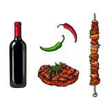 Elementi del BBQ - bottiglia di vino, bistecca, carne del bastone Immagine Stock Libera da Diritti