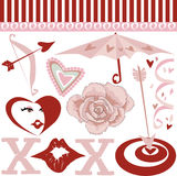 Elementi del biglietto di S. Valentino Fotografie Stock Libere da Diritti