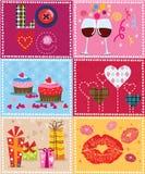Elementi del biglietto di S. Valentino Fotografia Stock