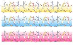 Elementi del bordo del coniglietto di Cartoonish pasqua Immagini Stock