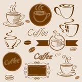 Elementi del caffè Fotografie Stock Libere da Diritti