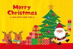Elementi del carattere di Natale di fondo dorato illustrazione vettoriale