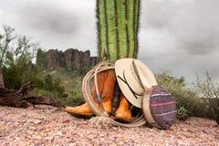Elementi del cowboy in deserto Immagini Stock