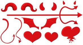 Elementi del diavolo e di angelo nel rosso royalty illustrazione gratis