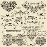 Elementi del disegno del biglietto di S. Valentino dell'annata Fotografie Stock