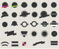 Elementi del distintivo di stile dei pantaloni a vita bassa ed insieme di etichetta Fotografie Stock Libere da Diritti