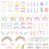 Elementi del fronte dell'unicorno del cavallino Acconciatura graziosa, corno magico e piccola corona leggiadramente Gli unicorni  illustrazione di stock