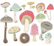 Elementi del fungo di tiraggio della mano royalty illustrazione gratis