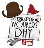Elementi del giorno dei lavoratori internazionali, illustrazione di vettore Fotografia Stock Libera da Diritti