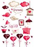 Elementi del grafico di giorno dei biglietti di S. Valentino Fotografie Stock Libere da Diritti