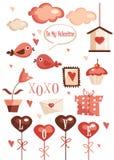 Elementi del grafico di giorno dei biglietti di S. Valentino Fotografia Stock Libera da Diritti