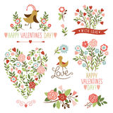 Elementi del grafico di San Valentino Fotografia Stock Libera da Diritti
