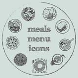 Elementi del menu dei pasti - le icone hanno messo 2 royalty illustrazione gratis