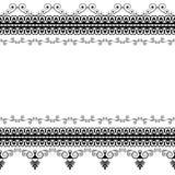 Elementi del modello del confine di Seamles con i fiori e linee del pizzo nello stile indiano di mehndi isolate su fondo bianco royalty illustrazione gratis