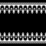 Elementi del modello del confine di Seamles con i fiori e linee del pizzo nello stile indiano di mehndi isolate su fondo bianco illustrazione vettoriale