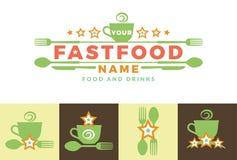 Elementi del modello di progettazione dell'icona di logo del segno di parola dell'alimento con il cucchiaio e la forchetta Per i  Fotografia Stock