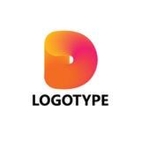 Elementi del modello di progettazione dell'icona di logo della lettera D Immagini Stock Libere da Diritti