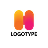Elementi del modello di progettazione dell'icona di logo della lettera H Immagine Stock