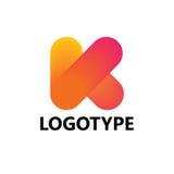 Elementi del modello di progettazione dell'icona di logo della lettera K Immagini Stock Libere da Diritti