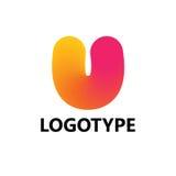 Elementi del modello di progettazione dell'icona di logo della lettera U Fotografie Stock Libere da Diritti