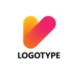 Elementi del modello di progettazione dell'icona di logo della lettera V Fotografie Stock