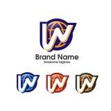 Elementi del modello di progettazione dell'icona di logo della lettera W Fotografia Stock