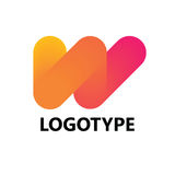 Elementi del modello di progettazione dell'icona di logo della lettera W Fotografie Stock Libere da Diritti
