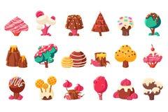Elementi del paesaggio della natura di fantasia, illustrazioni dolci di vettore della terra della caramella su un fondo bianco illustrazione vettoriale