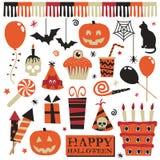 Elementi del partito di Halloween Immagine Stock