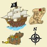 Elementi del pirata di colore Fotografia Stock