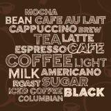 Elementi del testo del caffè Fotografia Stock