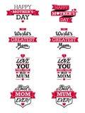 Elementi del testo del giorno delle madri illustrazione vettoriale