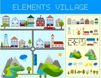 Elementi del villaggio moderno Immagine Stock Libera da Diritti