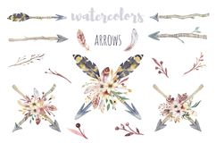Elementi dell'acquerello di Boho delle frecce e fiori selvaggi, foglie, fiori dei rami, illustrazione isolata, uccello e piume Immagine Stock Libera da Diritti