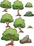 Elementi dell'albero forestale e della roccia del fumetto royalty illustrazione gratis