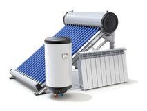 Elementi dell'impianto termico solare illustrazione vettoriale
