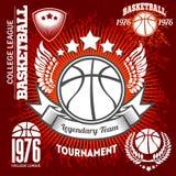 Elementi dell'insieme e di progettazione di logo di campionato di pallacanestro Fotografie Stock Libere da Diritti