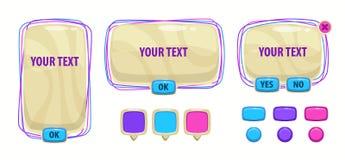 Elementi dell'interfaccia utente del fumetto Beni di vettore per progettazione del gioco illustrazione di stock