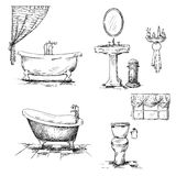 Elementi dell'interno del bagno. disegnato a mano. Vasca, t Immagine Stock