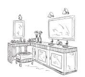 Elementi dell'interno del bagno Specchio disegnato a mano Fotografie Stock