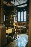 Elementi dell'interno della biblioteca di John Rylands a Manchester Immagini Stock