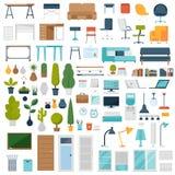 Elementi dell'interno dell'ufficio e della casa illustrazione di stock