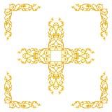 Elementi dell'ornamento, oro d'annata floreale Fotografia Stock Libera da Diritti