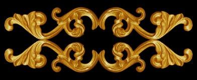 Elementi dell'ornamento, progettazioni floreali dell'oro d'annata Fotografie Stock Libere da Diritti